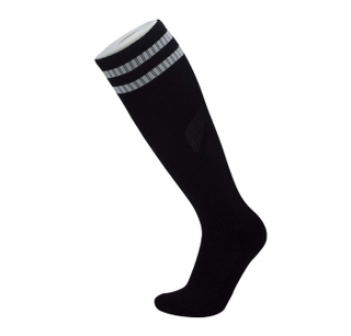 Custom Black White Stripe Men's Knee High Soccer Socks