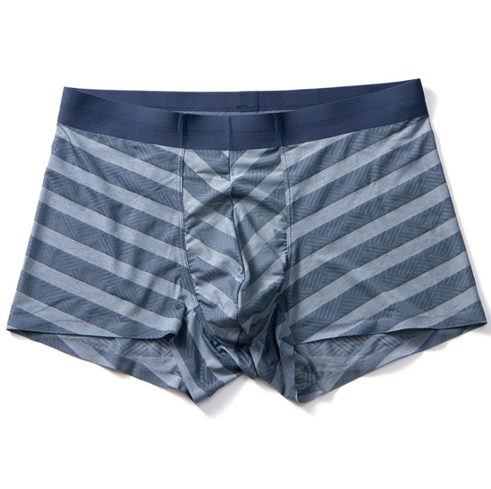Custom Nylon Ice Silk Stripe Man Boxer Shorts Underwear
