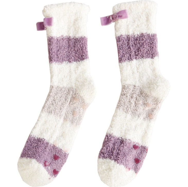 Custom Winter Warm Non Slip Indoor Women Fluffy Fuzzy Sleep Socks