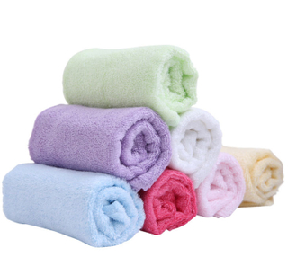 Customized Small Soft Solid Color 30x30CM Square Bamboo Fiber Face Towels