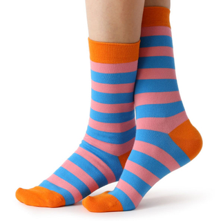 Customized Color Stripe Cotton Mens Crew Socks