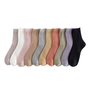 Solid Color Ultra Thin Cotton Mesh Summer Socks For Women